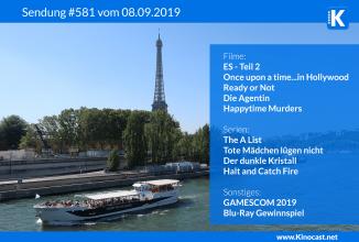 #581: <BR>ES – Kapitel 2, <BR>Once upon a time…in Hollywood, <BR>Ready or Not, <BR>Die Agentin, <BR>GAMESCOM 2019, <BR>Erlebnisse mit der deutschen Bahn, <BR>Hotelzimmer Fail <BR>Gewinnspiel